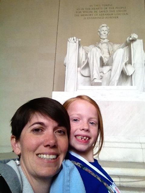 Shelly and Alea Mitchell at the Lincoln Memorial