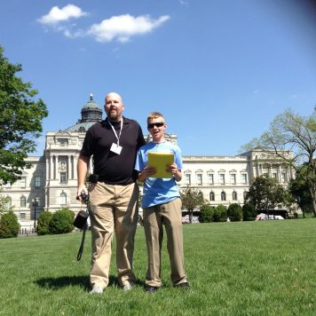 David Simmons Sr. and Jr. at the rally