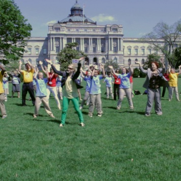 """Close to 50 library advances do the NLLD """"Happy"""" Dance in front of the US Capitol and Library of Congress"""