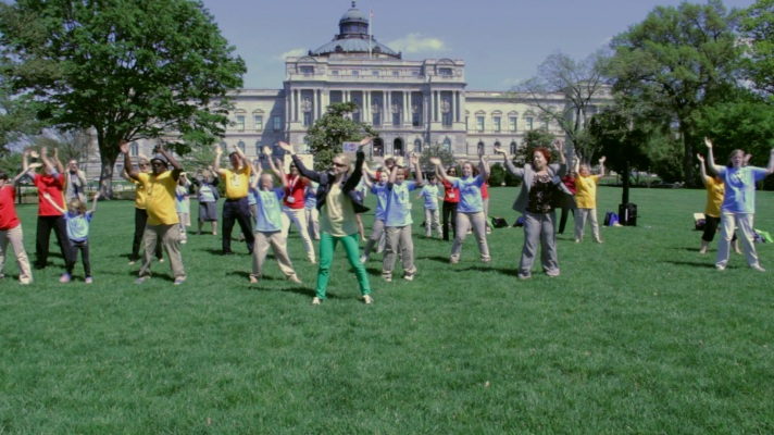 "Close to 50 library advances do the NLLD ""Happy"" Dance in front of the US Capitol and Library of Congress"