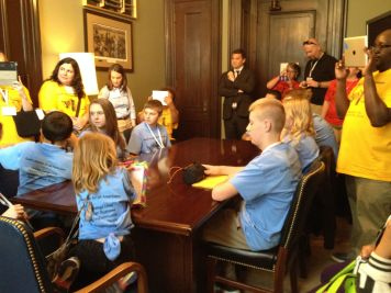 students in Burr's office