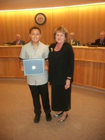 Alizdair with Hope Mills Mayor Jackie Warner