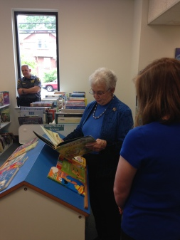 Congresswoman Foxx at Alexander Library with Library Director Laura Crooks